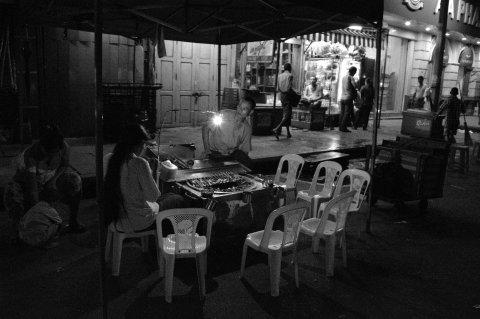 sidewalk cafe yangon bw